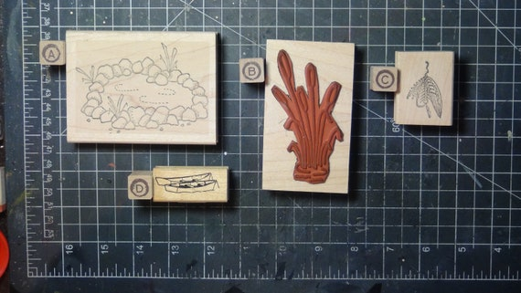 Rubber Stamps - YOU CHOOSE - wood mounted lot C3 - scenic lake theme