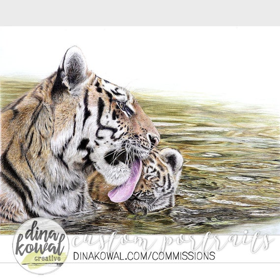 Notecards (set of 3) - Aww, Mom! - tiger mother and cub
