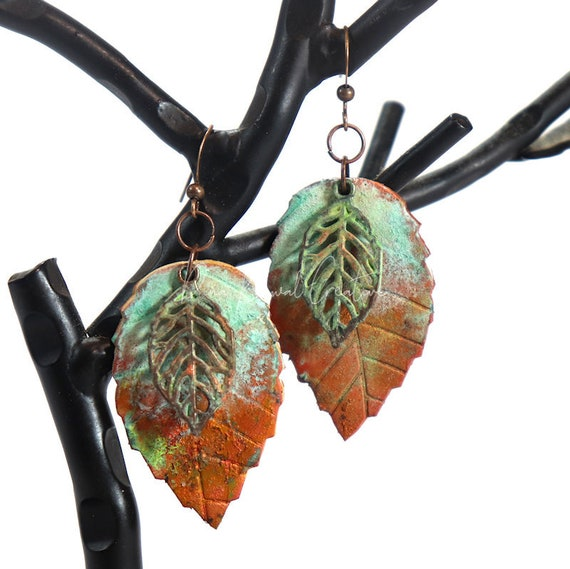 Polymer Clay Bead Earrings - Double Leaf Patina