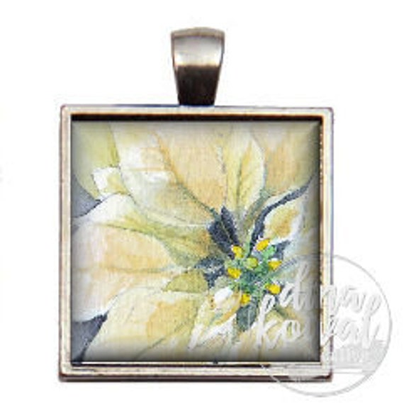 White Poinsettia - domed glass tile pendant necklace