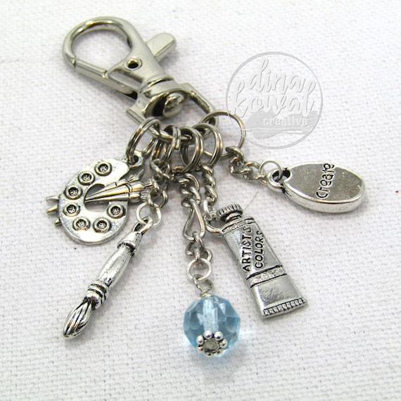 Purse Charm - Watercolor Paint Palette Artist Zipper Pull Keychain