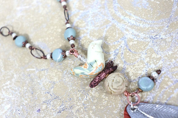 Bird Feather Necklace - mixed metals, handmade polymer clay beads