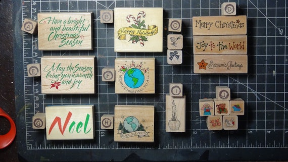 Rubber Stamps - YOU CHOOSE - wood mounted lot F1 - Christmas holiday theme