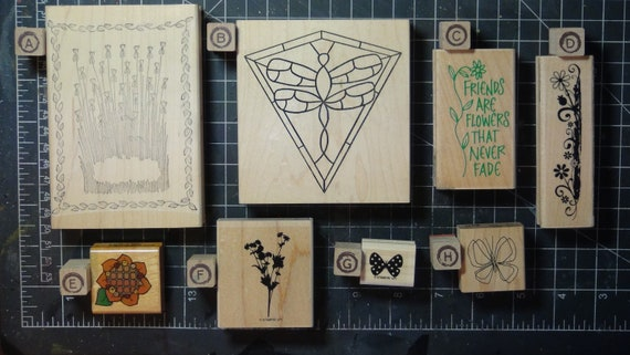 Rubber Stamps - YOU CHOOSE - wood mounted lot J1 - floral and garden butterfly theme