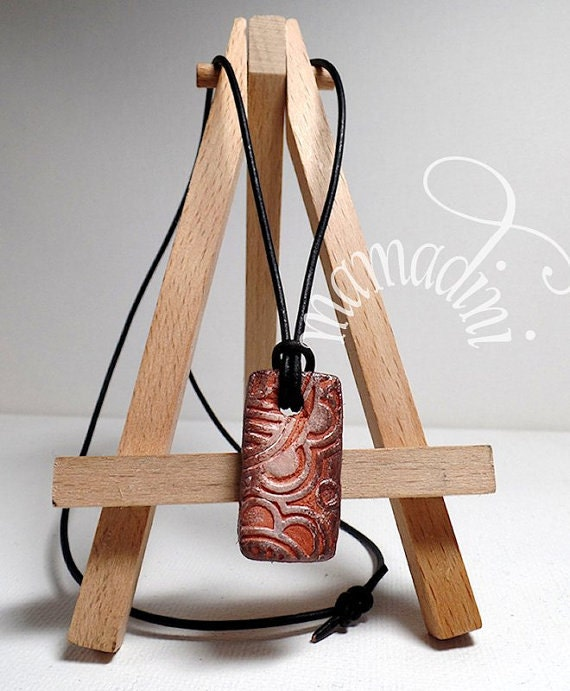 Terra Cotta diffuser necklace - leather cord - essential oils - rectangle