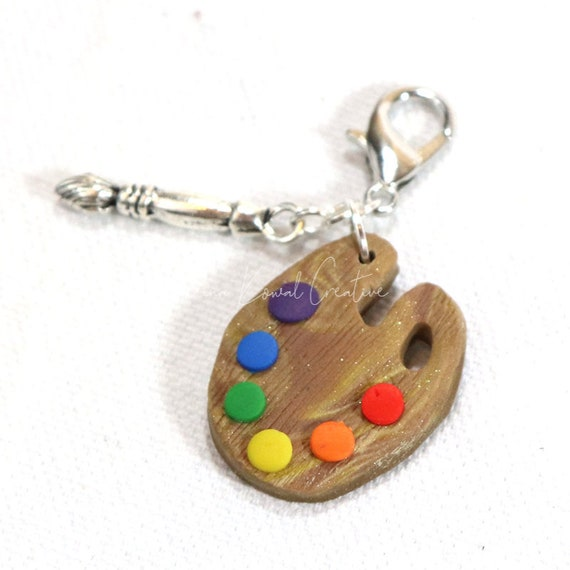 Polymer Clay Art Painter's Palette Artist Charm Zipper Pull or Memory Wire Choker