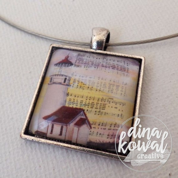 It Is Well- domed glass tile pendant necklace
