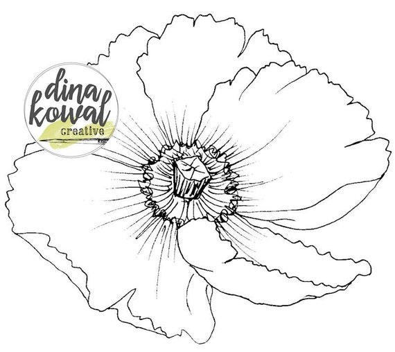 Digital stamp - Oriental Poppy - floral outline