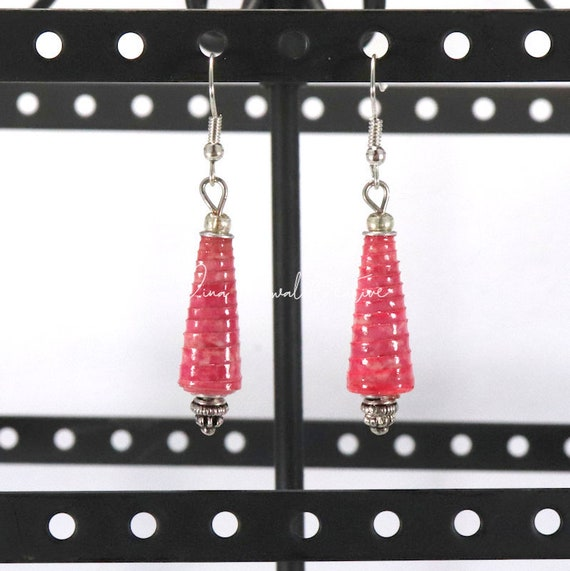 Paper Bead Earrings - Deep Pink Cone