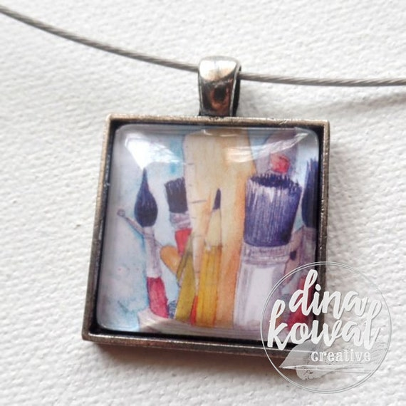 Make Art - art supplies - artist - domed glass tile pendant necklace