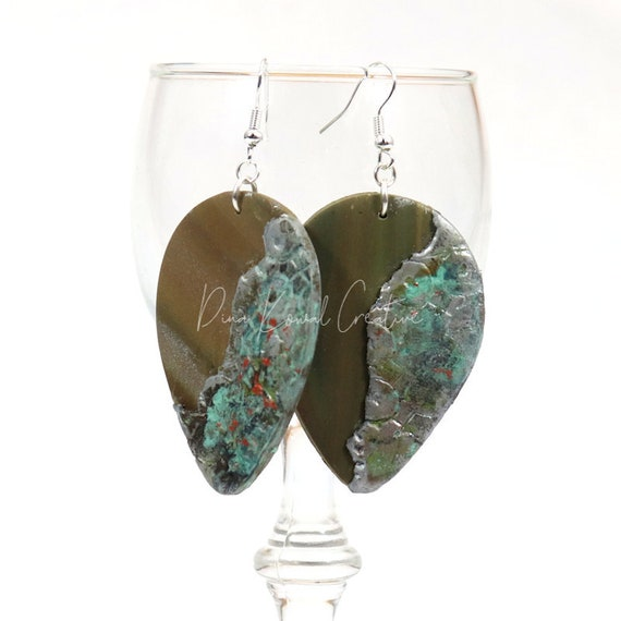 Polymer Clay Bead Earrings - Rustic Drop Antique