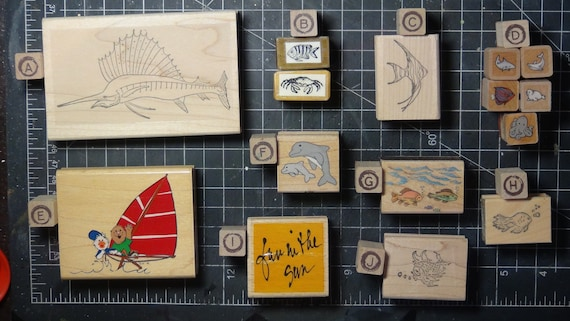 Rubber Stamps - YOU CHOOSE - wood mounted lot C1 - fish and ocean theme