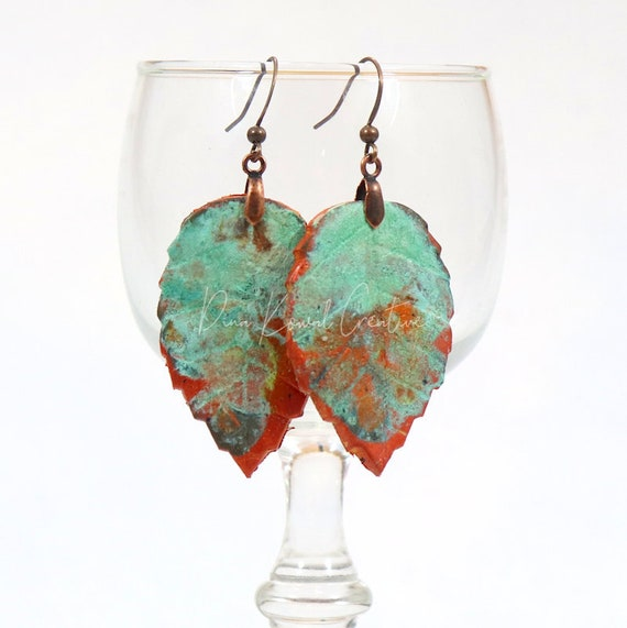 Polymer Clay Bead Earrings - Leaf Patina