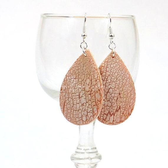 Polymer Clay Bead Earrings - Drop Crackle Tears