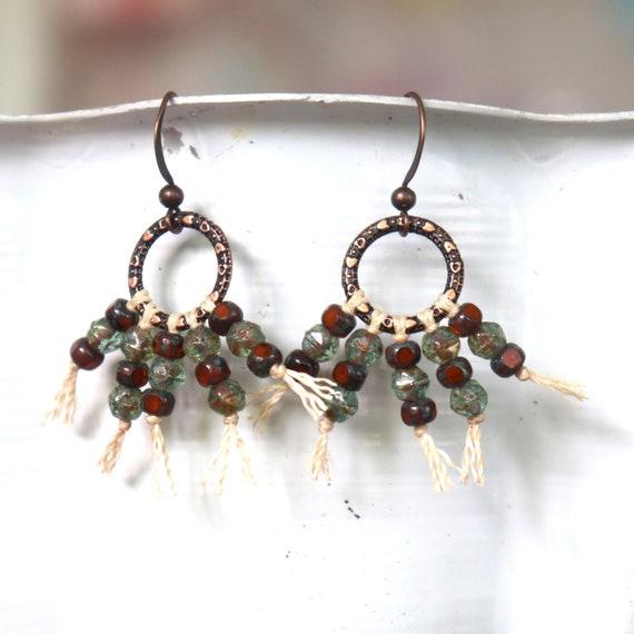 Czech Glass Bead Earrings - Bead Fringed Fan