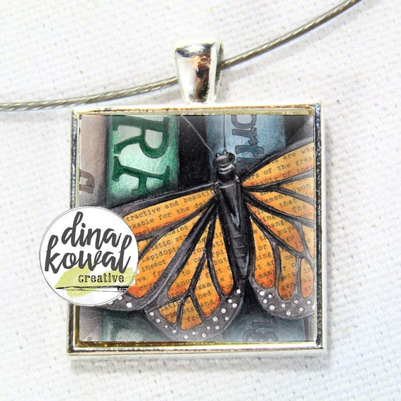 Library Book Monarch Butterfly - domed glass tile pendant necklace key ring