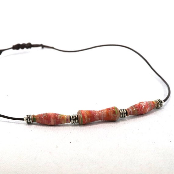 Adjustable leather choker - handmade paper beads