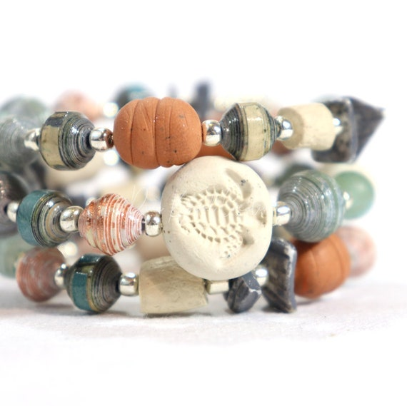 Memory Wire Wrap Bracelet - mixed handmade paper and polymer clay beads