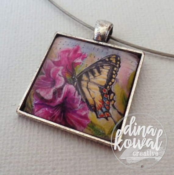 Under His Wings - swallowtail butterfly azalea hymn - domed glass tile pendant necklace