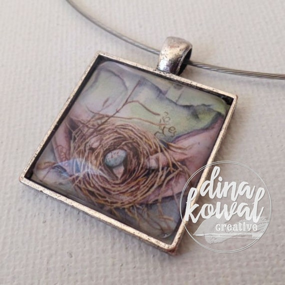 Kept - spring robin's nest with egg - domed glass tile pendant necklace