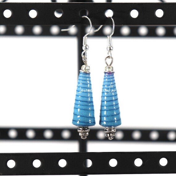 Paper Bead Earrings - Blue  Cone Ombre