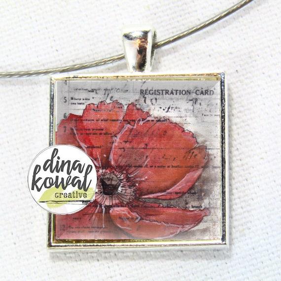 Red Poppy - Veterans - Remembrance- domed glass tile pendant necklace