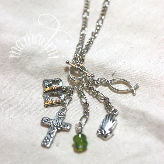 LAST ONE! Charm Necklace - Christian - Prayer - Bible - Fish - Cross