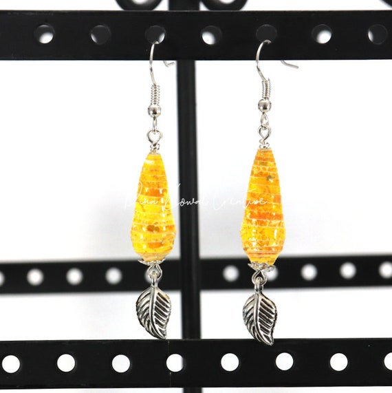 Paper Bead Earrings - Yellow Teardrop with Leaf