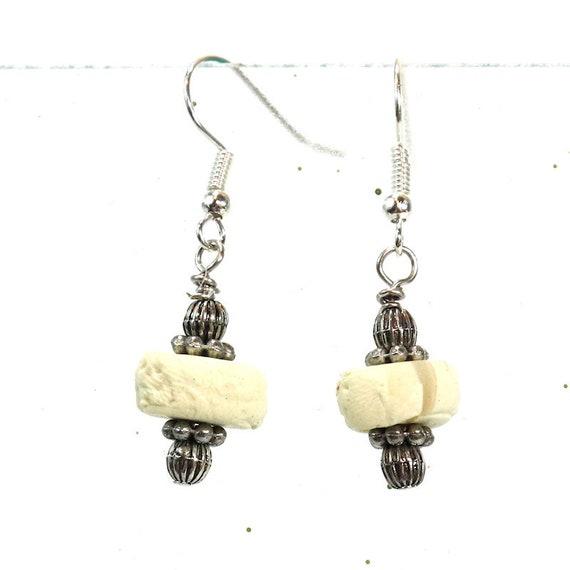 Polymer Clay Bead Earrings - Faux Bone Dangle