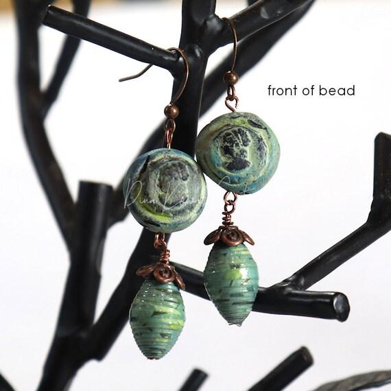 Polymer Clay Bead Earrings - Patina Cameo Drop