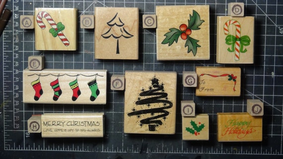 Rubber Stamps - YOU CHOOSE - wood mounted lot M3 - Christmas holiday theme