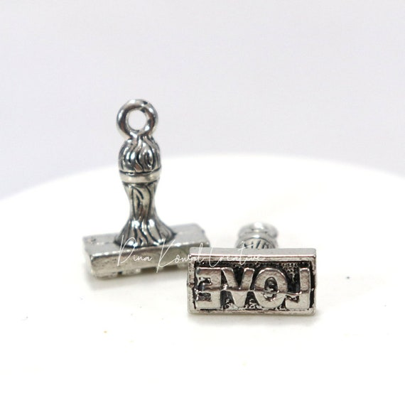 rubber love stamp charm  - pewter charm, silver finish, 3D