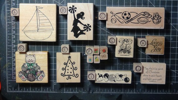 Rubber Stamps - YOU CHOOSE - wood mounted lot K2 - summer sports, hobby and holiday misc