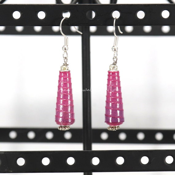 Paper Bead Earrings - Ombre Magenta Cone