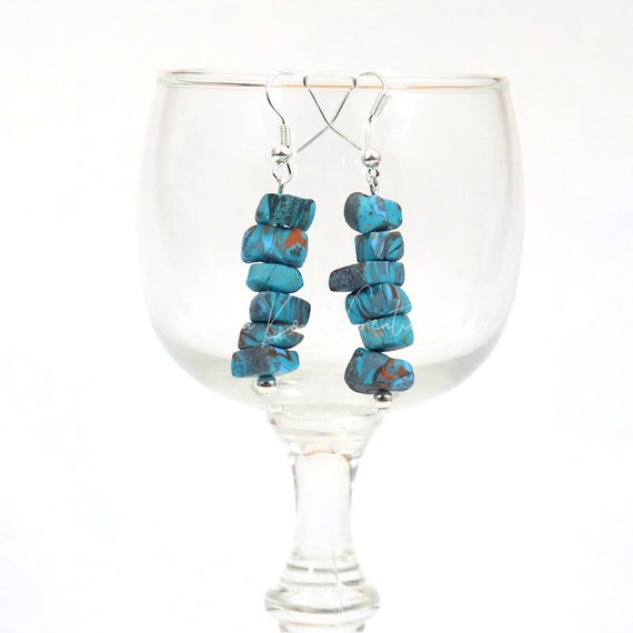 Polymer Clay Bead Earrings - Faux Turquoise Drop