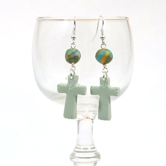 Polymer Clay Bead Earrings - Drop Cross
