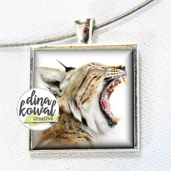 Wildcat Pride - domed glass tile pendant necklace