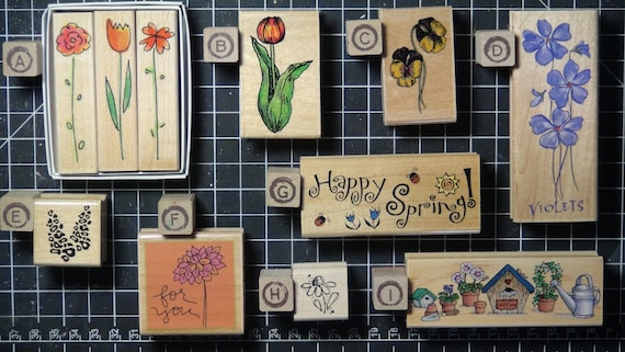Rubber Stamps - YOU CHOOSE - wood mounted lot N2 - floral, nature and garden theme