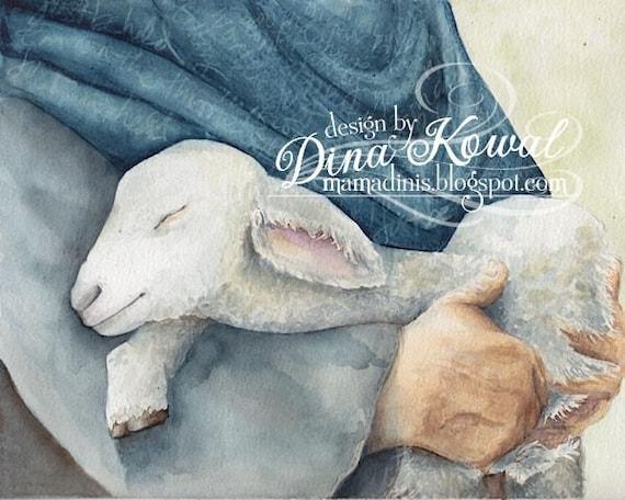Held -  watercolor print - sympathy and comfort - baby - shepherd - lamb