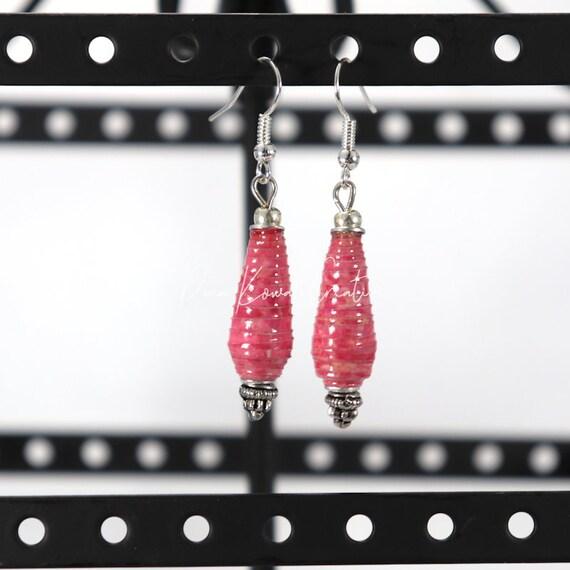 Paper Bead Earrings - Pink Teardrop