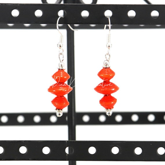 Paper Bead Earrings - Red Orange Saucers