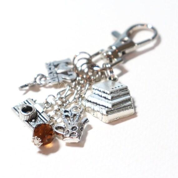 Purse Charm - Scrapbook Paper Craft Card Maker Zipper Pull Keychain