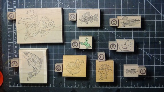 Rubber Stamps - YOU CHOOSE - wood mounted lot C2 - fish duck lake theme