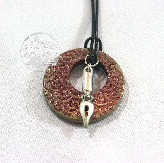 Calligraphy pen nib wood pendant