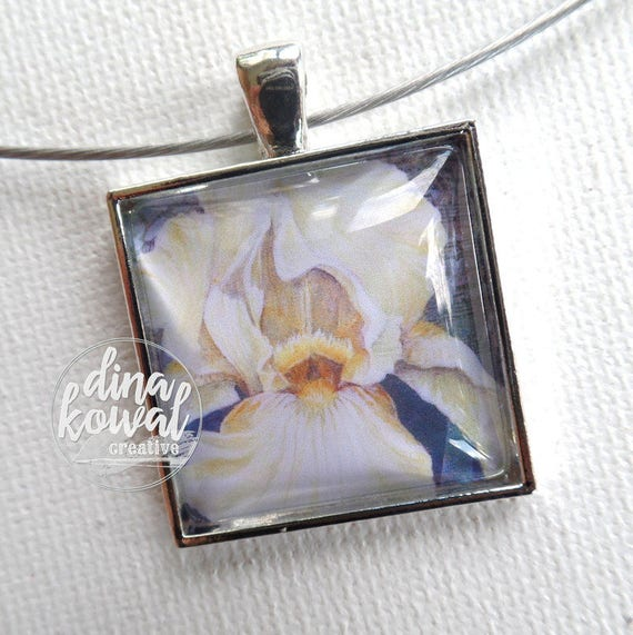 LAST ONE! Iris - white - domed glass tile pendant necklace