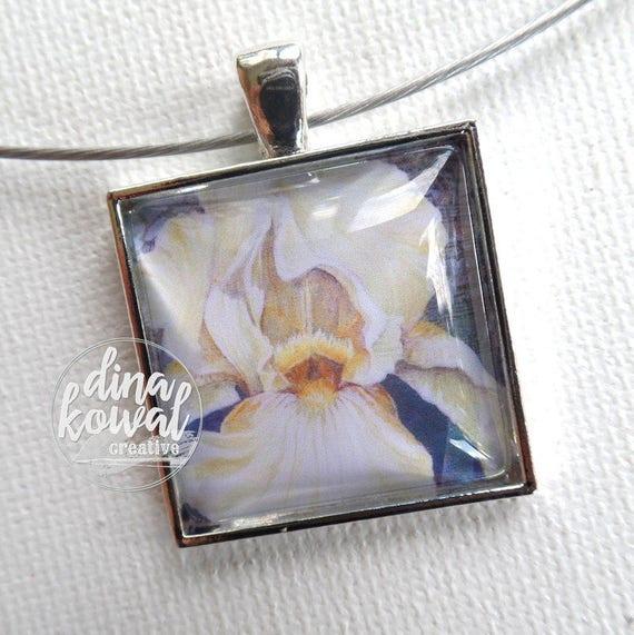 Iris - white - domed glass tile pendant necklace