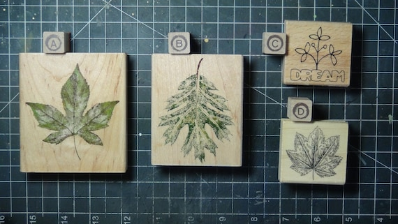 Rubber Stamps - YOU CHOOSE - wood mounted lot H2 - leaves and nature theme