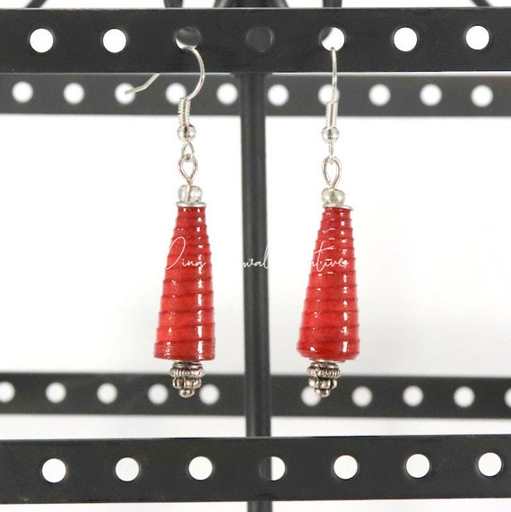 Paper Bead Earrings - Red Cone