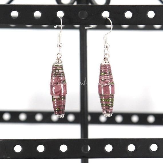 Paper Bead Earrings - Purple Floral