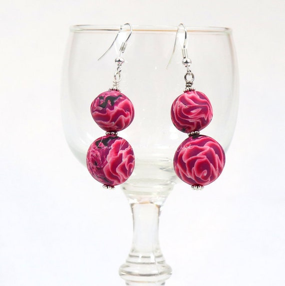 Polymer Clay Bead Earrings - Drop Rose Rounds